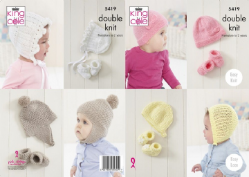 Baby Hats and Bootee sets Knitting Pattern, King Cole 5419